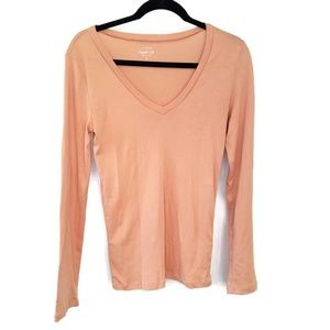 J Crew V Neck Long Sleeve Blouse Perfect Fit Top S